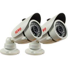 Revo America 1200TVL Indoor/Outdoor Bullet Surveillance Camera with 100' Night Vision, 2-Pack