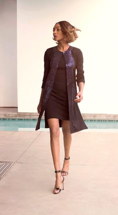 A one of a kind glamorous navy sequin knit topper jacket from the St. John Knits PreFall 2015 Collection completes any evening or black tie event outfit.   StJohnKnits.com