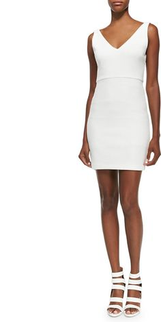 Alice + Olivia V-Neck Sleeveless Fitted Dress