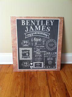 First Birthday Chalkboard Poster/Sign - ON SALE - Baby/Child Growth/Milestones. $17.00, via Etsy.