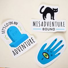 I have these fun occult-y adventure-y vinyl stickers in my shop (etsy.com/shop/occultgeometries). My set is currently adorning my laptop and tablet! . . #art #stickers #vinylstickers #occult #adventure #weird #digitalart #color #journal #bulletjournal #artist #artistsoninstagram #artoftheday #cat #palmistry #graveyard