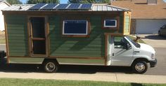 This motorized tiny home can also be referred to asa tiny house truck because it's built right onto a 2009 Ford E-350 Super Duty Chassis. It's fully self contained and even has 500 wat…