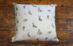 Hare capers duck egg blue cushion www.waringsathome.co.uk