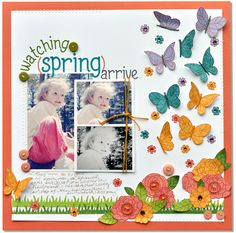 Lawn Fawn: 03.25(?).12: flutter by butterflies, layered flowers and butterflies across page = simply delightful!