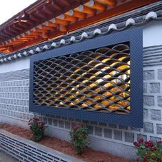 Traditional Korean Roof Awning & Window Screen with Clay Tiles
