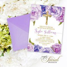 Invitación de bautizo - primera comunión invitación - Ranunculus peonía púrpura y hoja de oro falsa acuarela Floral Boho para imprimir