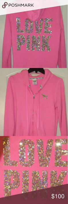Victorias secret Bling zip up Coral and gold All rhinestones intact  No flaws, Excellent Condition!  Rare** PINK Victoria's Secret Other