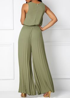 0427822170a Pleated Sleeveless Cowl Neck Army Green Jumpsuit on sale only US 35.37 now