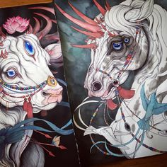"""Caitlin Hackett   """"Two new 22"""" by 30"""" paintings, I'm working on the horse piece today. Both will be featured in my upcoming two person show with photographer David McHale """"Mixing Memory and Desire"""" opening October 22nd at Alchemy Bottle Shop here in Oakland"""""""