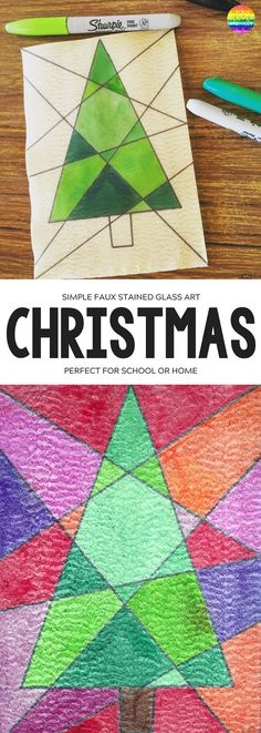 Easy Christmas Art - Faux Stained Glass. The perfect Christmas activity for children of mixed ages at home or in the classroom | you clever monkey #christmasartideas #kidschristmasartideas #christmasartactivities