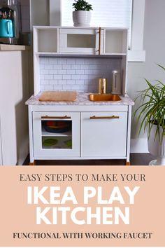 Ikea Kids Kitchen, Toddler Kitchen, Diy Play Kitchen, Mini Kitchen, Kitchen Hacks, Functional Kitchen, Montessori Toddler, Guest Bed, Sensory Activities