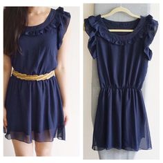 Navy flowy chiffon dress Pretty navy skater dress in great condition. Fits XS and S. Bought in Taiwan. Good match to a cool leather jacket too! Dresses Mini