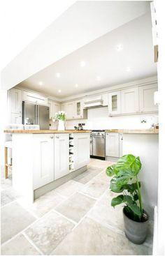 Shaker Kitchen - Image By Alex De Palma Kitchen Interior Kitchen Inspiration Kitchen Interior, New Kitchen, Kitchen Ideas, Kitchen White, Kitchen Island, White Kitchen Floor Tiles, White Kitchens Ideas, Cream Shaker Kitchen, House Interior Design