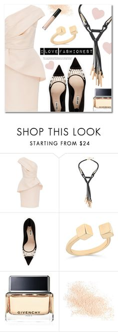 """""""Fashionest.com"""" by deeyanago ❤ liked on Polyvore featuring Monique Lhuillier, Miu Miu, Givenchy, Eve Lom and Too Faced Cosmetics"""