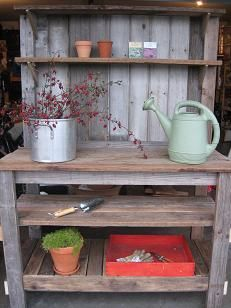 A friend made me a potting bench exactly like this. Can't wait to get out and muddy it up!