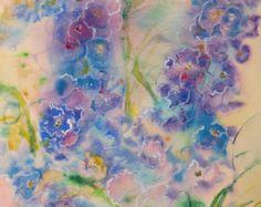 abstract painting, original watercolor art, abstract floral art, delphinium art, flower painting, garden art, wall decor, wildflower art