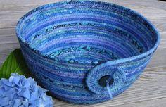 Large Coiled Fabric Bowl, Coiled Fabric Basket, Batik Bowl, Blue