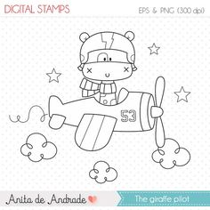 50% OFF Giraffe pilot aviator Stamp - personal and commercial use, line art, graphics, digital clip art, digital images - S005