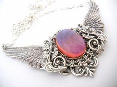 Flying Dragons breath Fire opal Regal  Filigree by TheSecretforest, $52.00