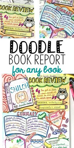 ake book reports and book projects to a whole new level with this super fun Doodle Book Review! First, students complete a step-by-step planning guide. They'll reflect on the book's characters, plot, setting, and theme. In addition, they'll rate the book, identify an important quote, write a summary, describe the book in just three words, and even make up an award for the book. Next, they'll use their insights from their planning pages to design a Doodle Book Review. So fun!  So creative!