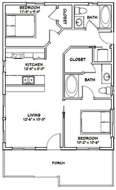 768 Sq Ft House Plans Lovely Details About House 2 Bedroom 2 Bath Pdf Floor The Plan, How To Plan, 2 Bedroom House Plans, 20x30 House Plans, Small House Floor Plans, Little House Plans, Barndominium Floor Plans, Free Shed Plans, Free Floor Plans