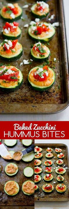 These Baked Zucchini Hummus Bites are fantastic for healthy snacking or appetizers! Vegetarian and gluten free. For 2 bites…39 calories and 1 Weight Watchers SmartPoint