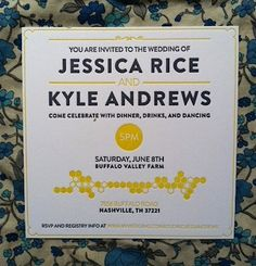 Honeycomb Letterpress Invitation.  Yellow + Grey.  Wes Anderson Wedding.