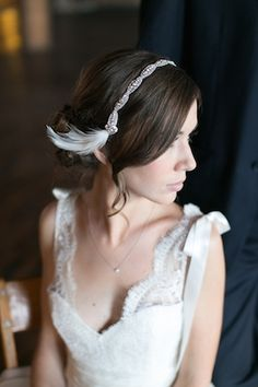 Rhinestone and feather headpiece | Christy Tyler Photography | see more on: http://burnettsboards.com/2014/08/life-wedding-inspiration/