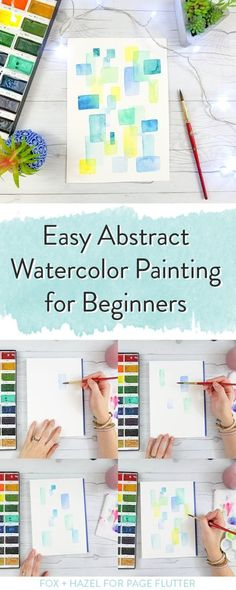 Easy Abstract Watercolor Painting For Beginners Practice glazing color and shape with this watercolor painting for beginners Fox Hazel for PageFlutter Watercolor Beginner, Watercolor Paintings For Beginners, Step By Step Watercolor, Watercolor Tips, Beginner Painting, Watercolour Tutorials, Watercolor Techniques, Abstract Watercolor Tutorial, Watercolor Flowers