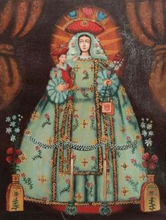 """Original pinner writes: """"Unique Catholic Original Cuzco Oil Painting - Our Lady of Mercy Divine Mother, Blessed Mother Mary, Blessed Virgin Mary, Religious Images, Religious Icons, Religious Art, Peruvian Art, Colonial Art, Images Of Mary"""