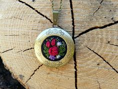 Roses necklace locket pendant. Embroidered by EmbroideredJewerly