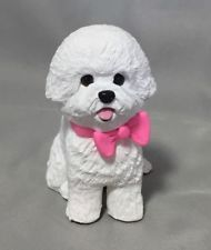 Handsculpted Clay Bichon Frise Dog Pretty in Pink Sculpture OOAK Christmas Gift