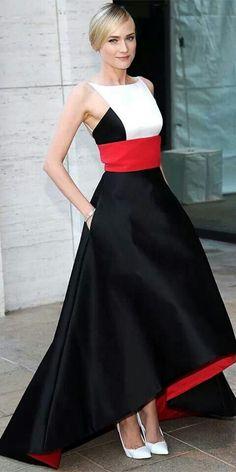 Diane KrugerAt the Metropolitan Opera House, Diane Kruger was breathtaking in a red-white-and-black satin Prabal