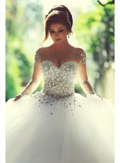 USD$246.17 - Vintage Long Sleeve Beadings Ball Gown Tulle Wedding Dress - www.27dress.com