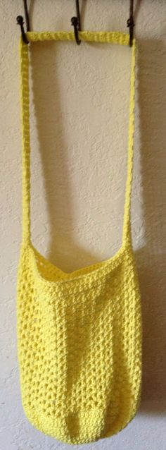 Bright Yellow Mesh Market Bag by SpiderCreations on Etsy, $15.00