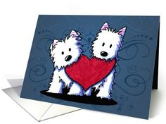 Sweet love/teamwork card featuring KiniArt™ Westie Terriers