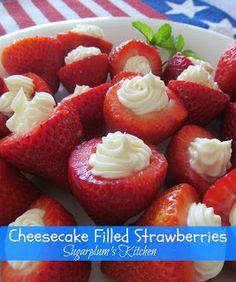 Cheesecake Filled Strawberries- Super delicious!  sugarplumskitchen.com