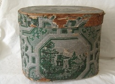 ANTIQUE Hannah Davis Wallpaper Band Box Hat Box w Label - Large - Circa 1843