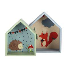 2 étagères enfant maisonnettes en bois grise/verte H 30 et H 35 cm FOREST