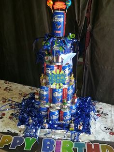 Husbands beer can birthday cake!