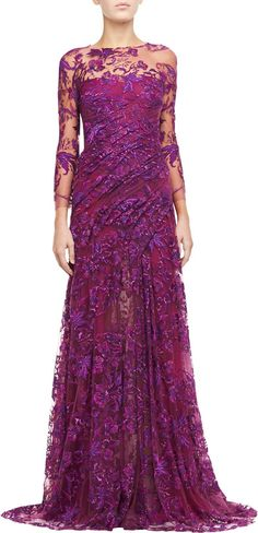 Monique Lhuillier Silk Gown with Embroidered Tulle on shopstyle.com