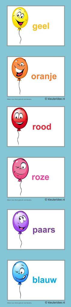 Kleurkaarten voor kleuters ,  kleuteridee.nl , colorcards for preschool , free printable 1