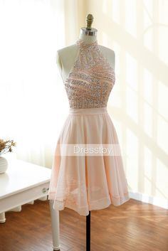 Cute pink sequin short prom dress, pink homecoming dress, pink cocktail dress, formal dress for teens