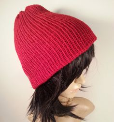 Red Knit Beanie for valentine's day by NoraTones