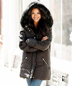 Loving this Black Hooded Faux Fur-Lined Puffer Coat – Plus Too on Cold Weather Fashion, Fashion Colours, Coat, Hoods, Faux Fur, Cute Outfits, Winter Jackets, Pretty, Clothes