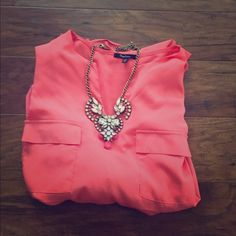 Hot pink blouse Adorable hot pink blouse. Lightweight. Perfect for Spring! Monteau Tops Blouses