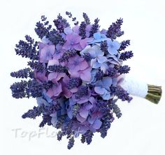 bridal bouquet with hydrangea and lavender