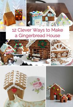 Lots of fun ideas for making gingerbread houses from cardboard, felt, milk cartons and more.