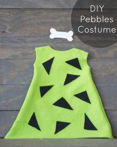 Easy DIY Pebbles Flintstone costume!  Perfect Halloween costume for little girls! |   http://www.sincerelyjean.com #halloween #pebblesflintstone #costume