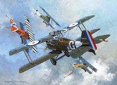 McCudden in SE5a v. Udet, et al in Fokker D.VIIs